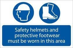 DRAPER 'Safety Helmets And Protective Footwear Must Be Worn' Mandatory Sign
